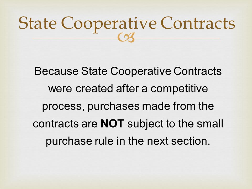 State Cooperative Contracts