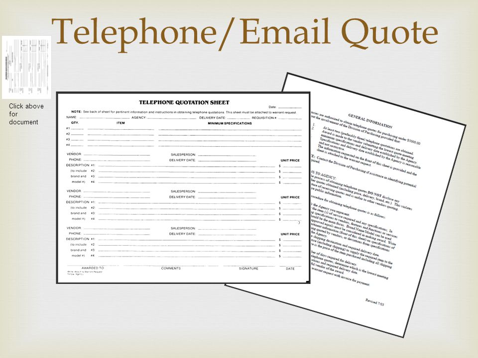 Telephone/Email Quote