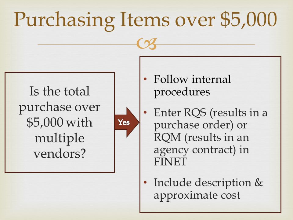 Purchasing Items over $5,000