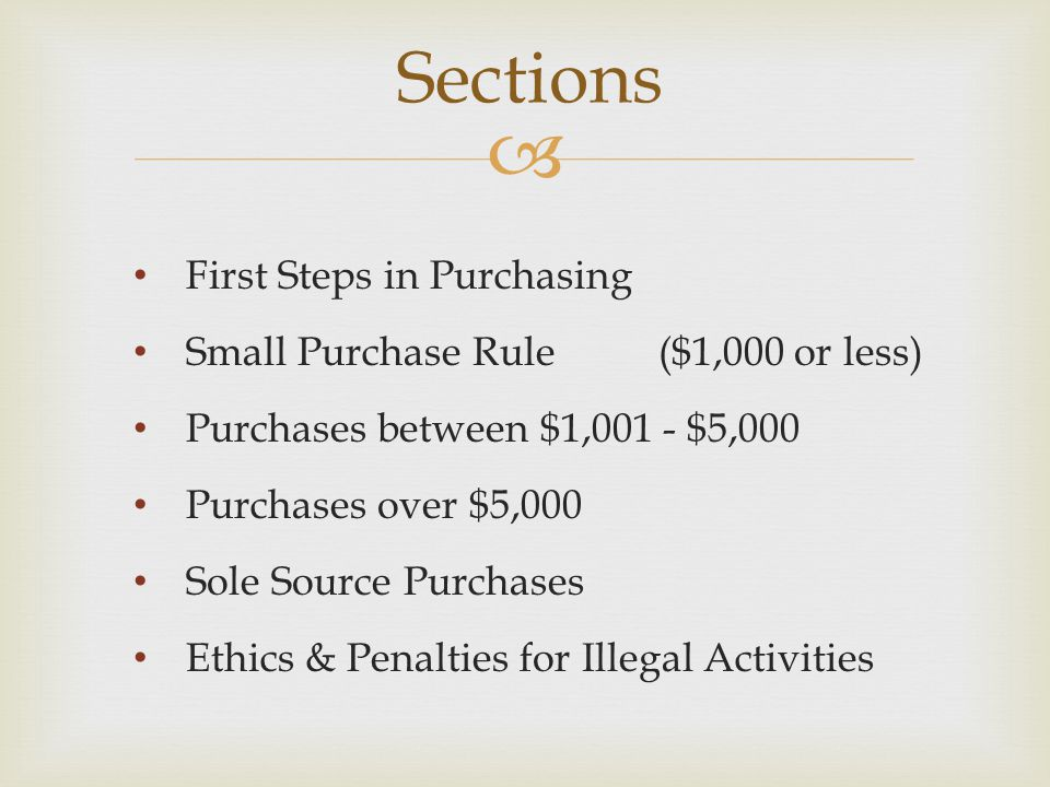 Sections First Steps in Purchasing