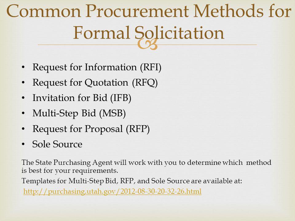 Common Procurement Methods for Formal Solicitation