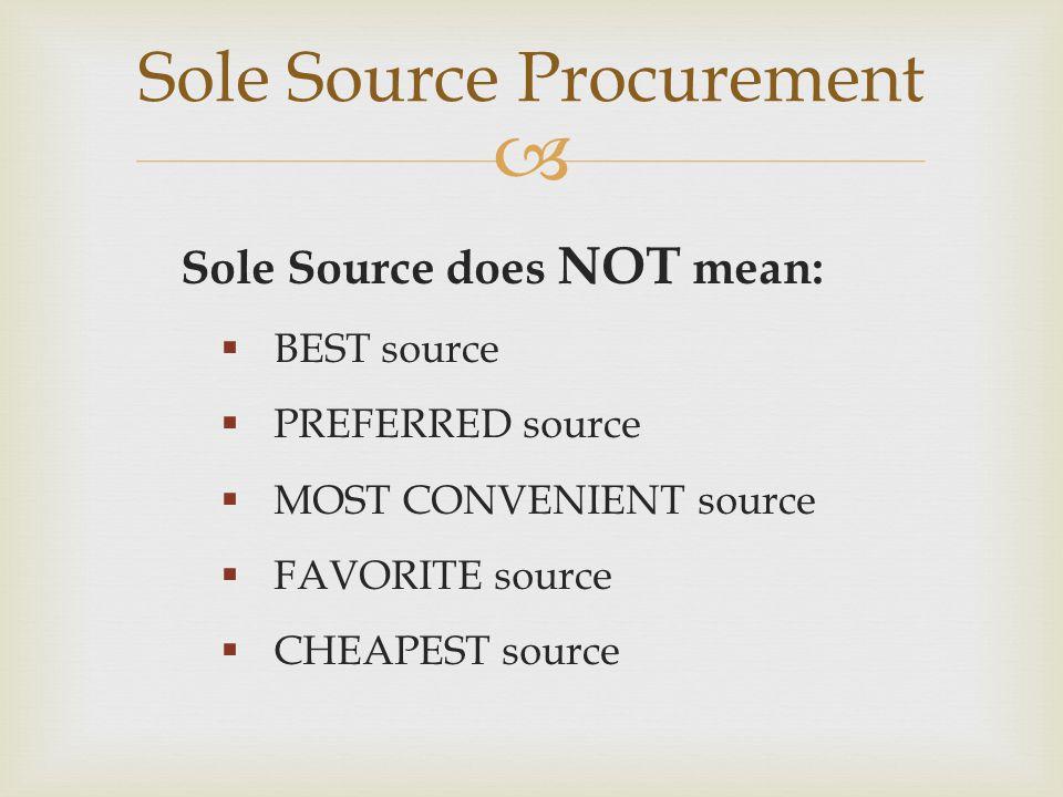 Sole Source Procurement