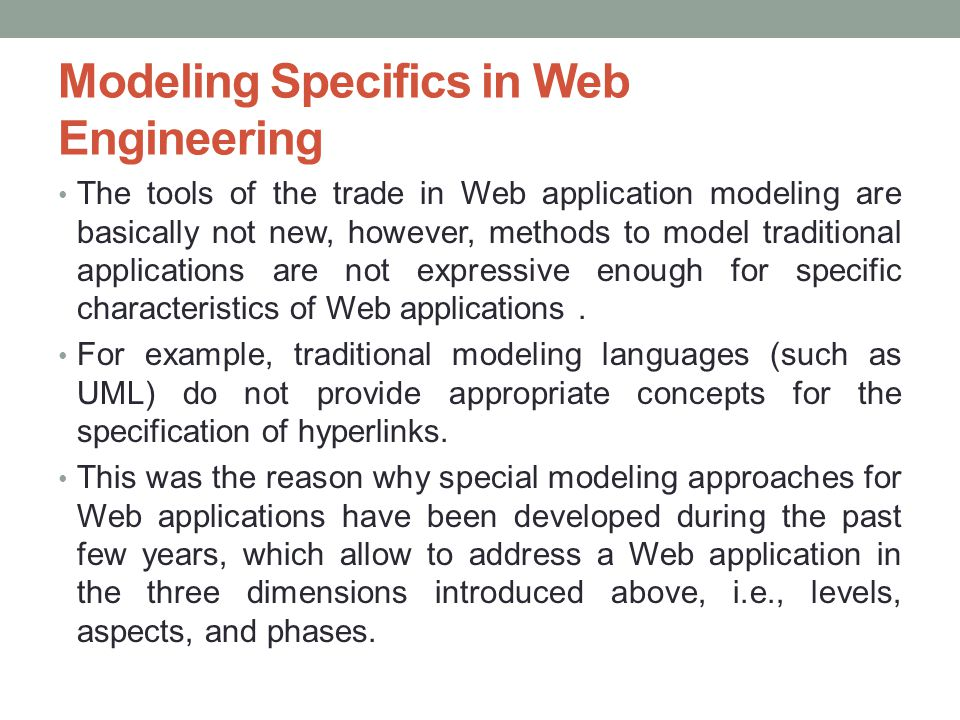 Modeling Specifics in Web Engineering