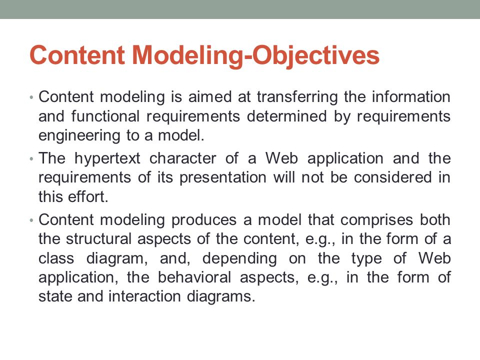 Content Modeling-Objectives
