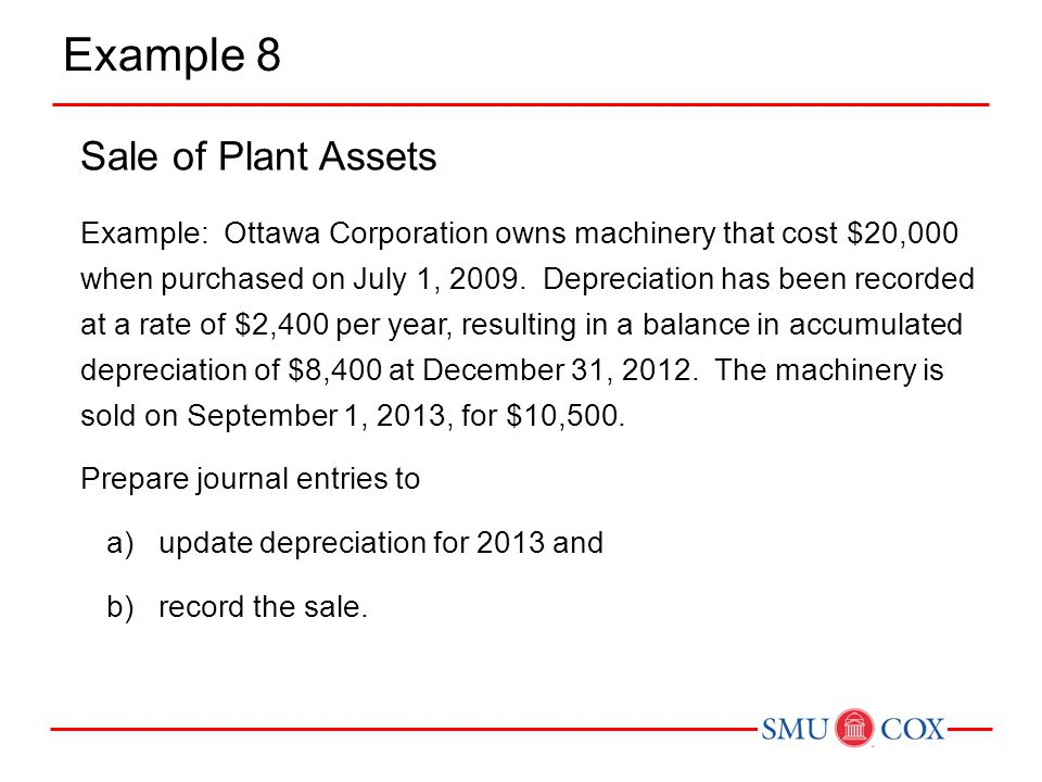 Example 8 Sale of Plant Assets