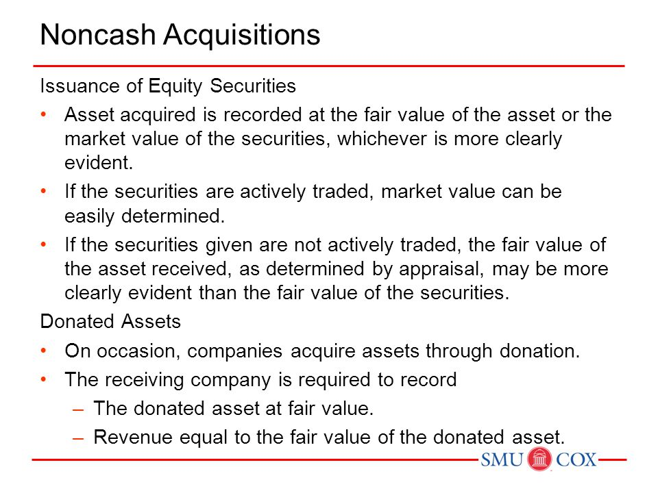 Noncash Acquisitions Issuance of Equity Securities
