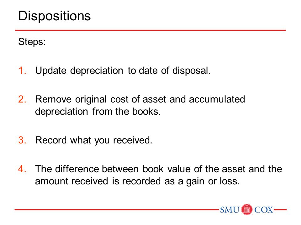 Dispositions Steps: Update depreciation to date of disposal.