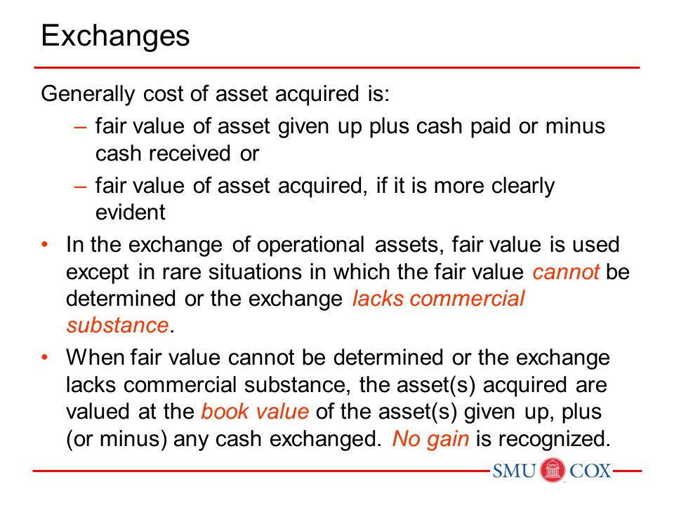 Exchanges Generally cost of asset acquired is: