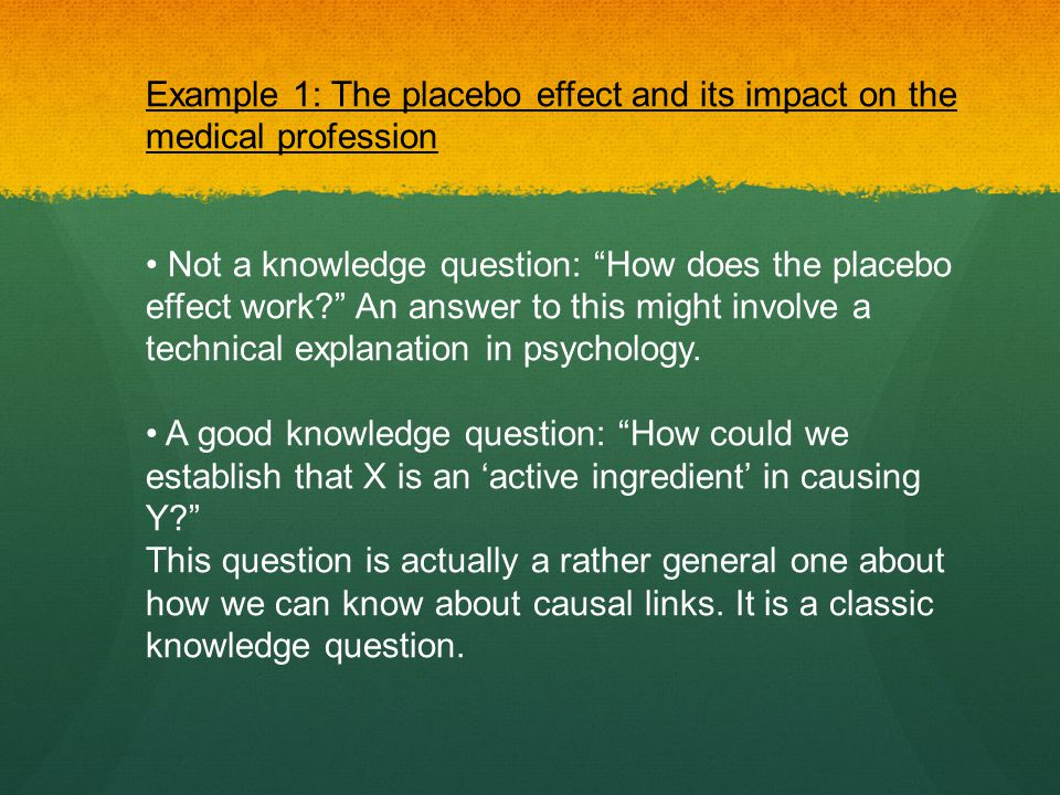 Example 1: The placebo effect and its impact on the medical profession
