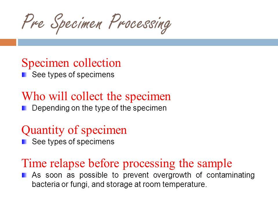 Pre Specimen Processing