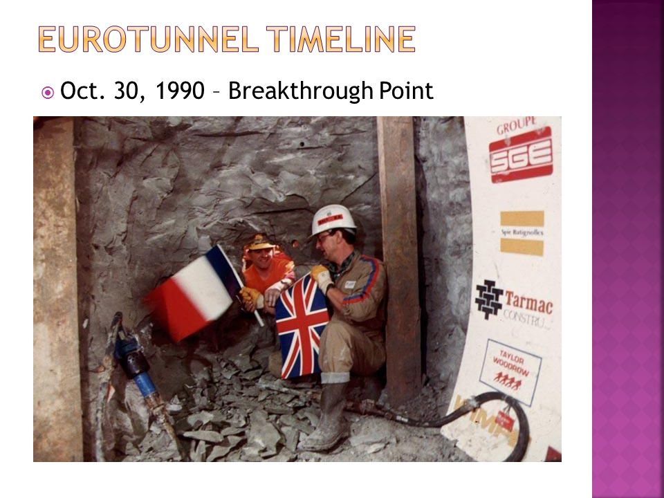 Eurotunnel TimeLine Oct. 30, 1990 – Breakthrough Point