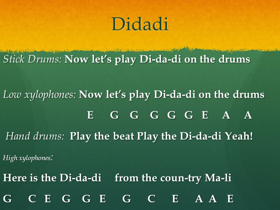 Didadi Stick Drums: Now let's play Di-da-di on the drums
