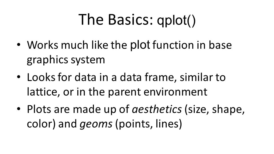 The Basics: qplot() Works much like the plot function in base graphics system.