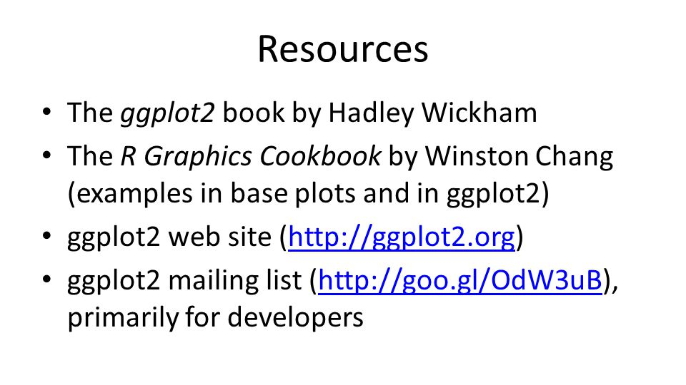 Resources The ggplot2 book by Hadley Wickham