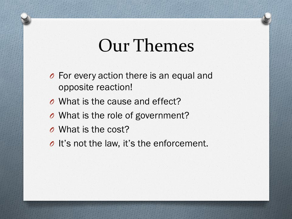 Our Themes For every action there is an equal and opposite reaction!