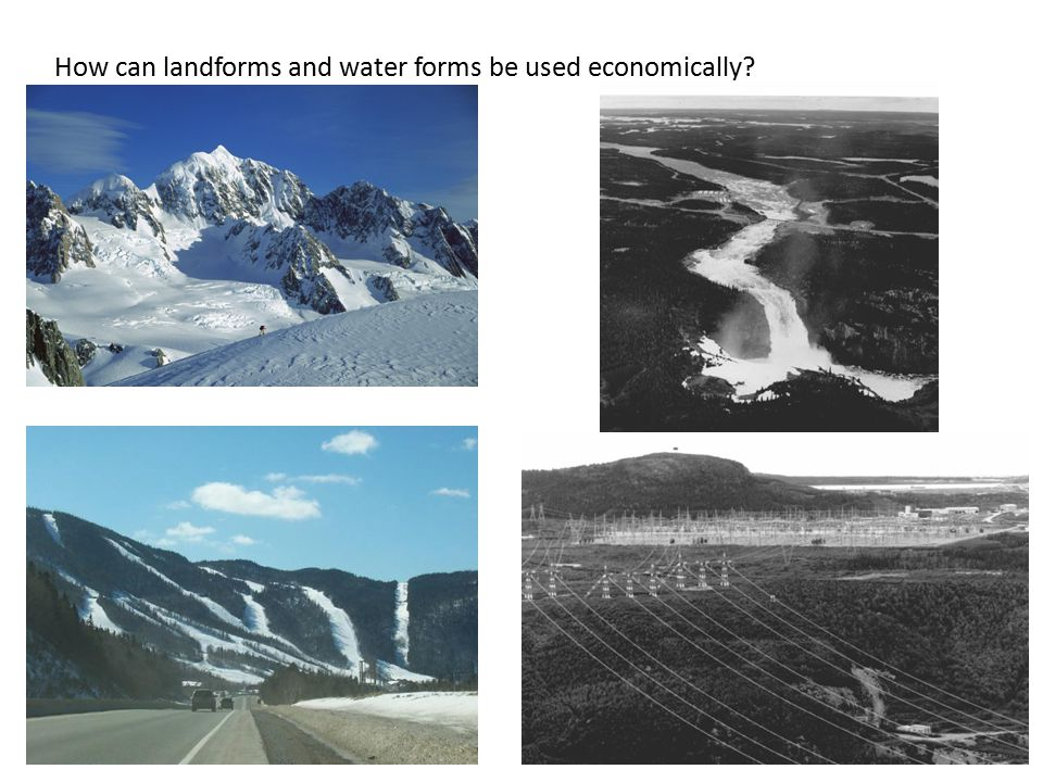 How can landforms and water forms be used economically