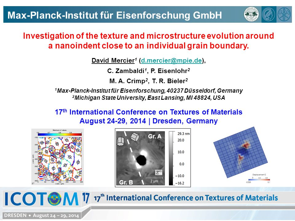Investigation of the texture and microstructure evolution around a nanoindent close to an individual grain boundary.