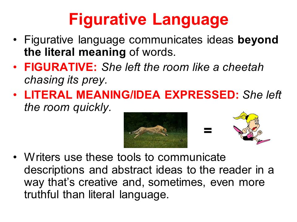 Figurative Language Figurative language communicates ideas beyond the literal meaning of words.