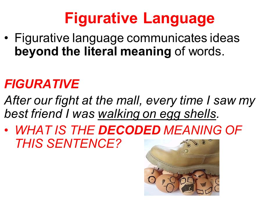 Figurative Language Figurative language communicates ideas beyond the literal meaning of words. FIGURATIVE.