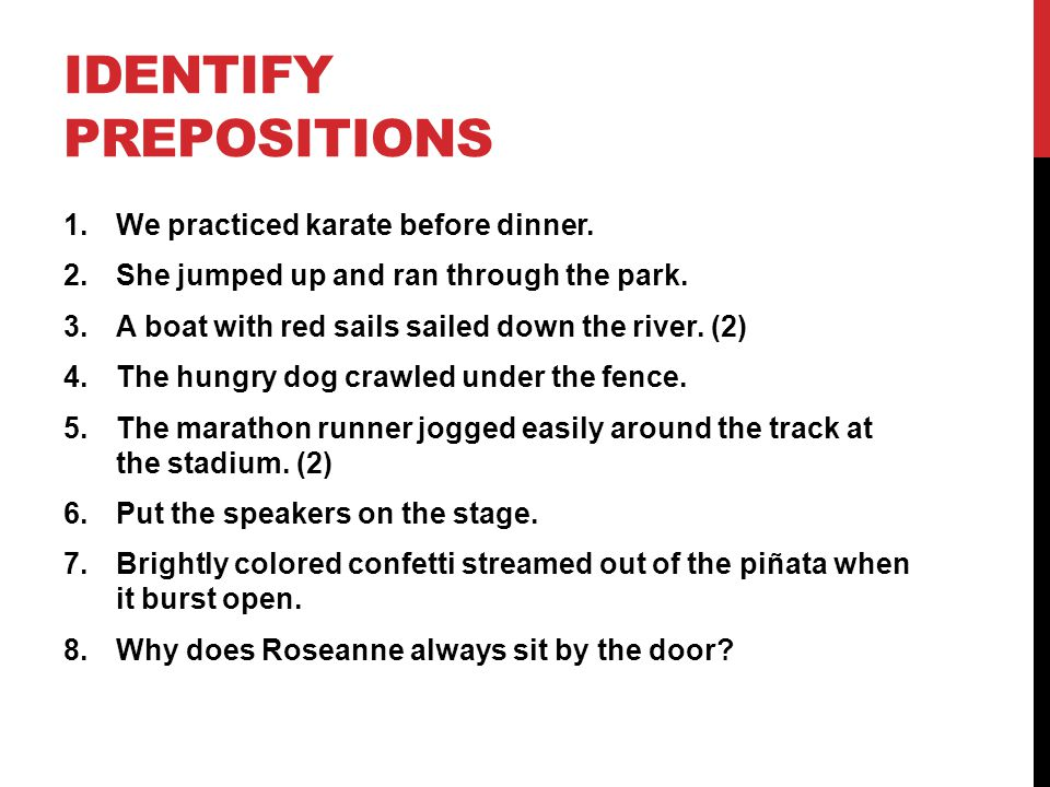 Identify Prepositions