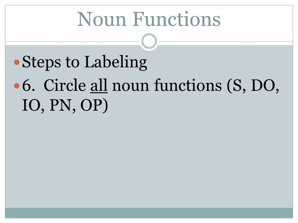 Noun Functions Steps to Labeling