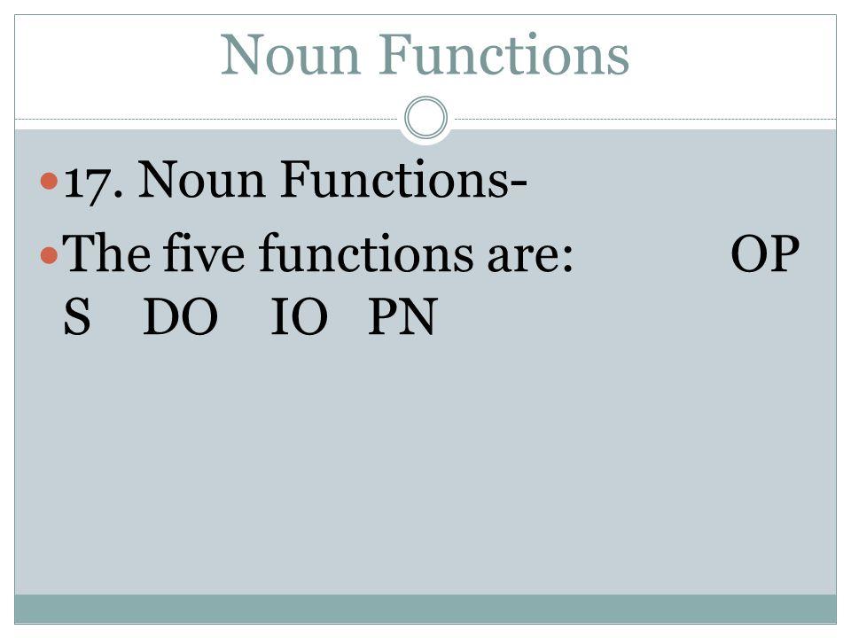 Noun Functions 17. Noun Functions-