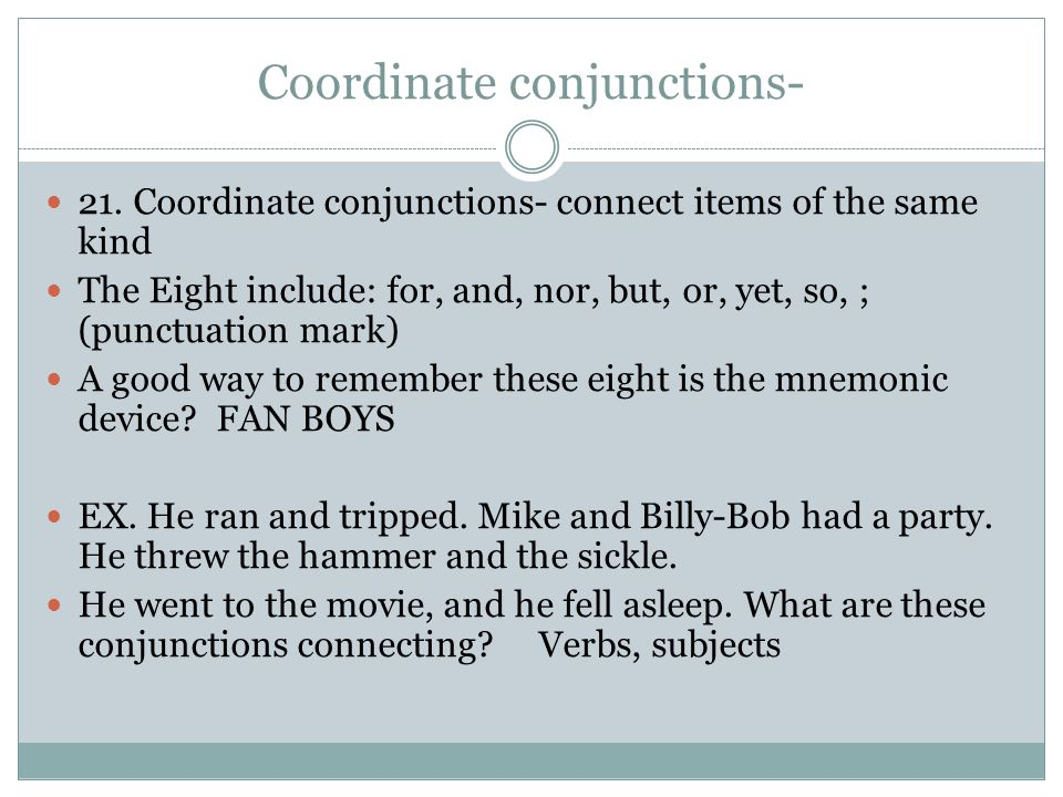 Coordinate conjunctions-