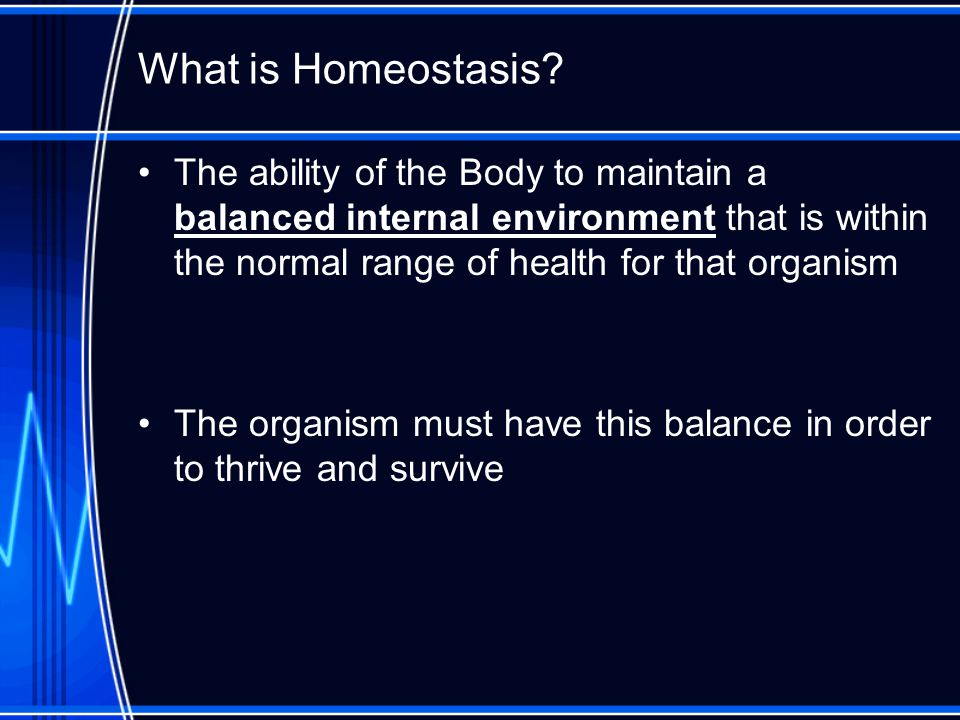 What is Homeostasis The ability of the Body to maintain a balanced internal environment that is within the normal range of health for that organism.