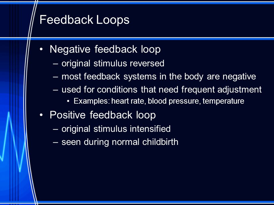 Feedback Loops Negative feedback loop Positive feedback loop