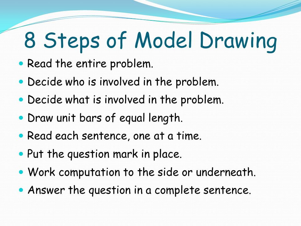 8 Steps of Model Drawing Read the entire problem.