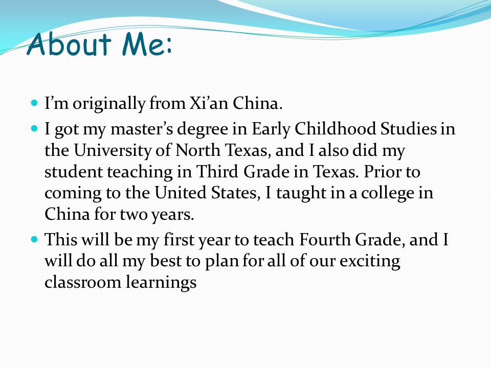 About Me: I'm originally from Xi'an China.