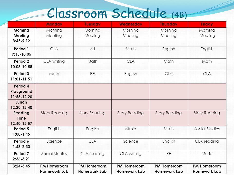 Classroom Schedule (4B)