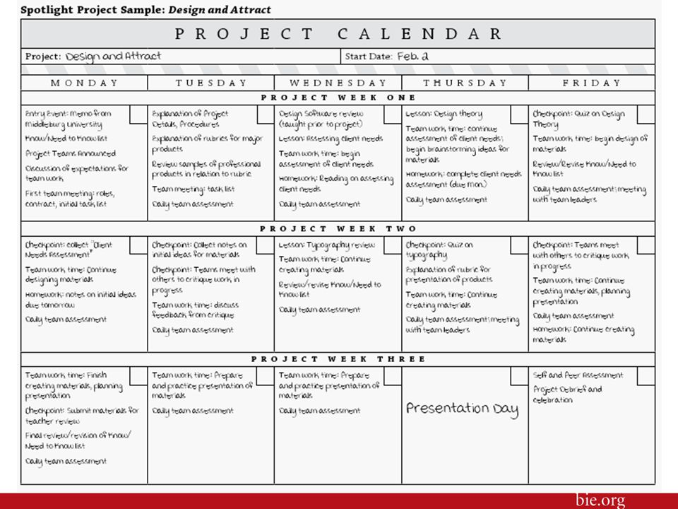 6 Here is another of BIE's project planning forms, a Project Calendar.