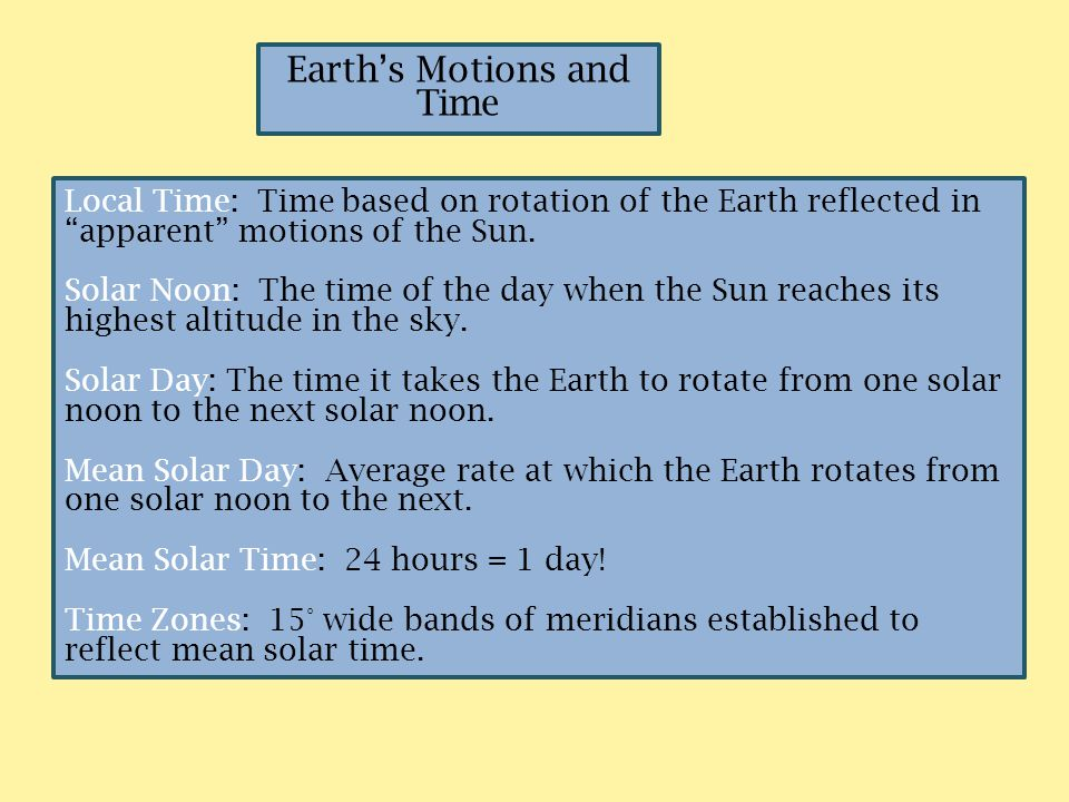 Earth's Motions and Time