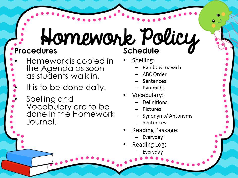 Homework is copied in the Agenda as soon as students walk in.