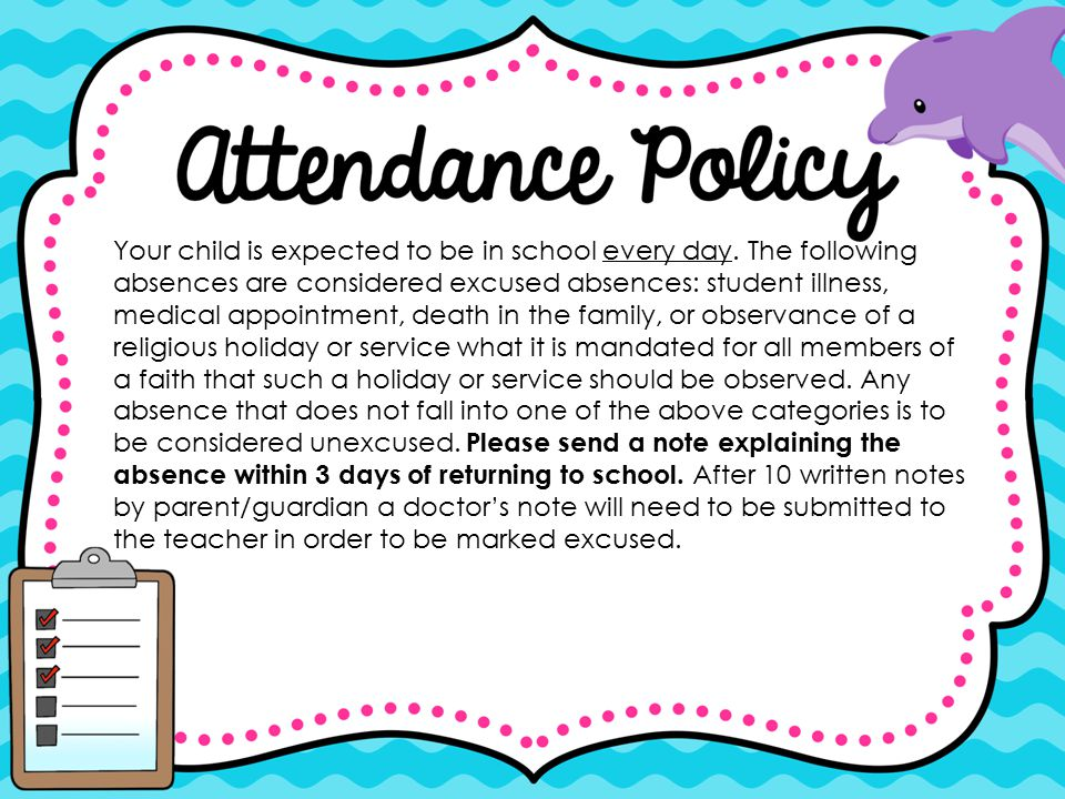 Your child is expected to be in school every day