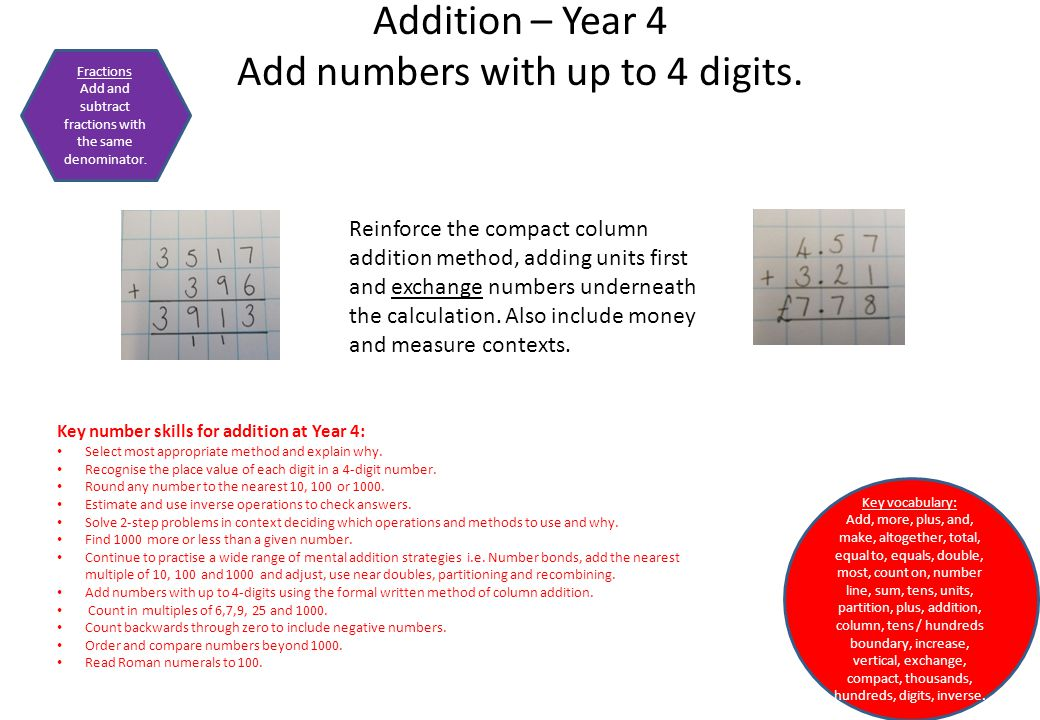 Addition – Year 4 Add numbers with up to 4 digits.