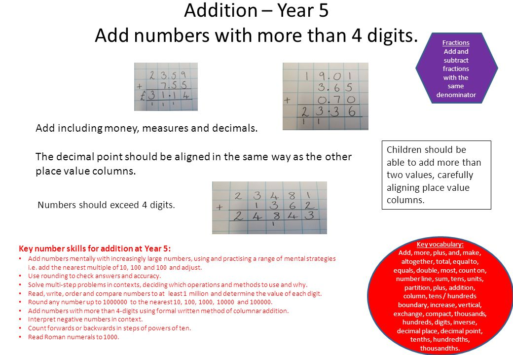 Addition – Year 5 Add numbers with more than 4 digits.