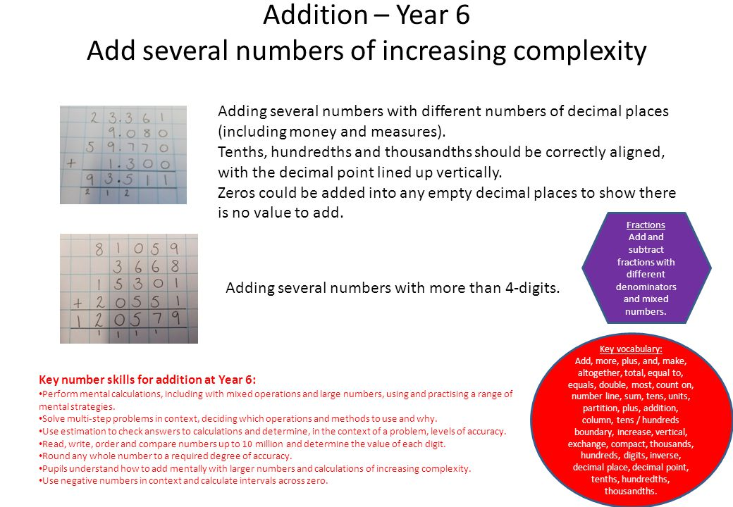 Addition – Year 6 Add several numbers of increasing complexity