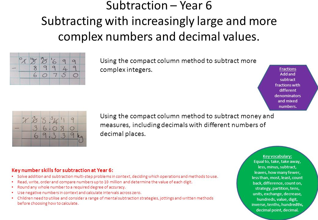 Subtraction – Year 6 Subtracting with increasingly large and more complex numbers and decimal values.