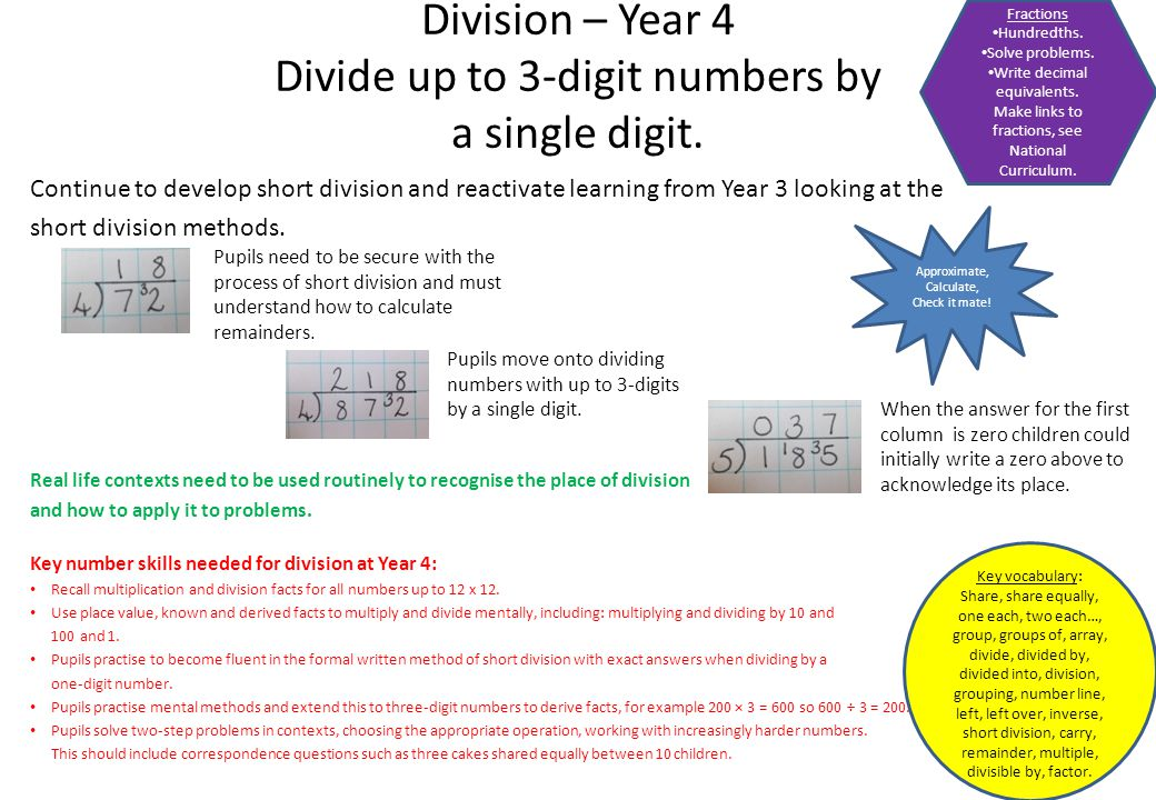Division – Year 4 Divide up to 3-digit numbers by a single digit.