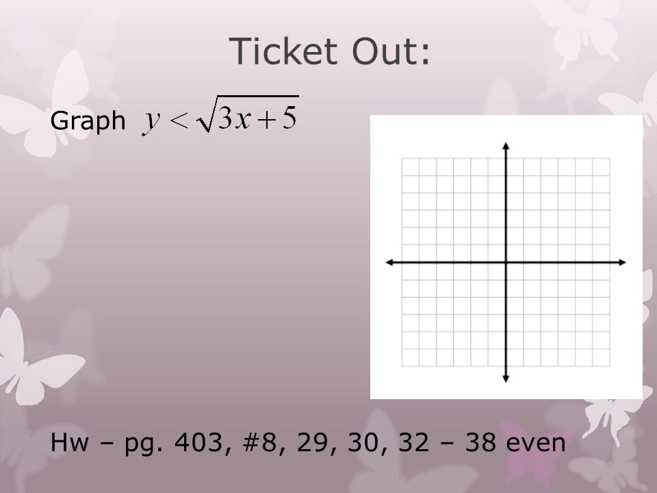 Ticket Out: Graph Hw – pg. 403, #8, 29, 30, 32 – 38 even