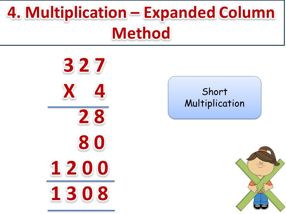 4. Multiplication – Expanded Column Method