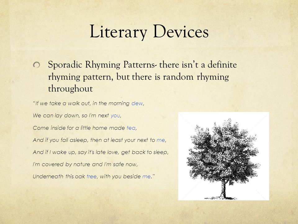 Literary Devices Sporadic Rhyming Patterns- there isn't a definite rhyming pattern, but there is random rhyming throughout.