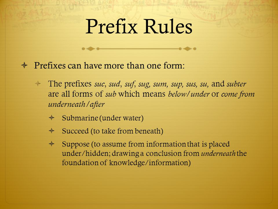 Prefix Rules Prefixes can have more than one form: