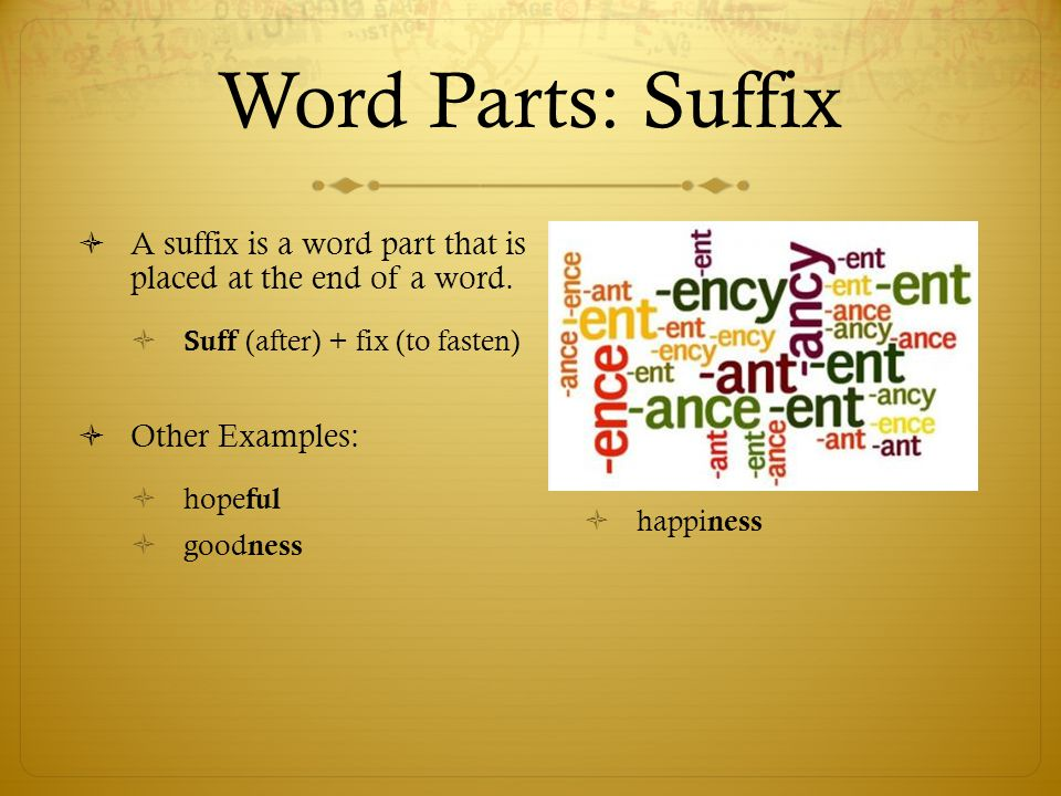 Word Parts: Suffix A suffix is a word part that is placed at the end of a word. Suff (after) + fix (to fasten)