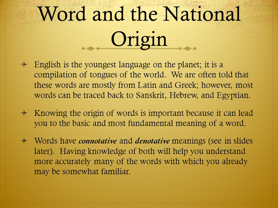Word and the National Origin