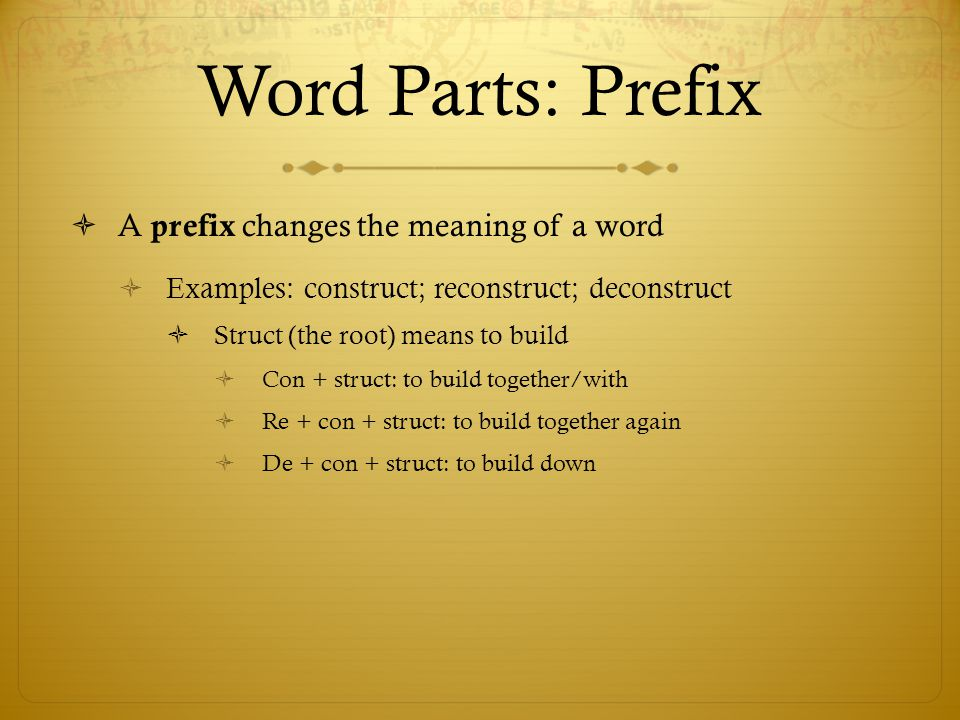 Word Parts: Prefix A prefix changes the meaning of a word