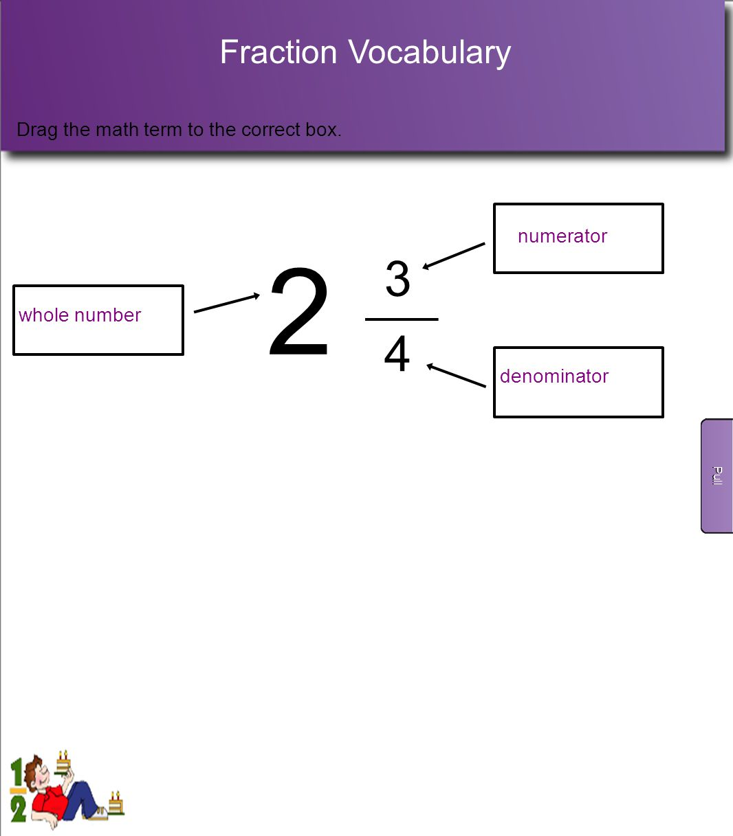 2 3 4 Fraction Vocabulary Drag the math term to the correct box.