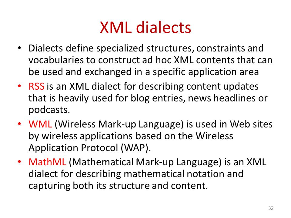 XML dialects